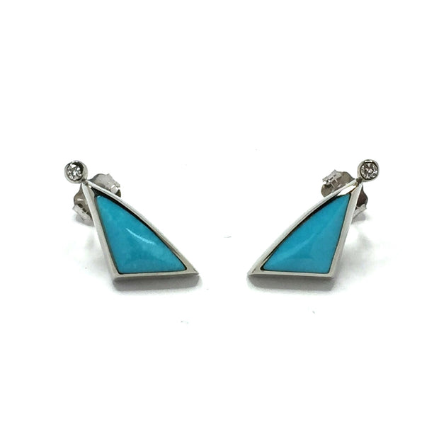 Turquoise Triangle Shape Inlaid with .02ct Round Diamond