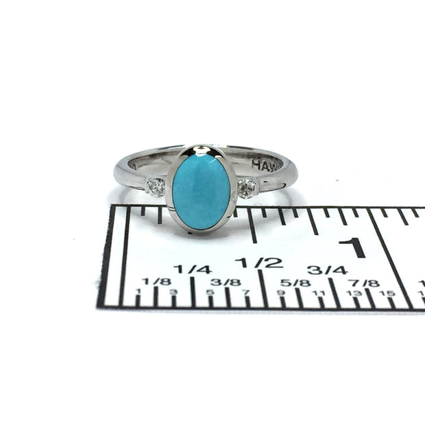 Turquoise Ring Oval Inlaid Design Center with .06ctw Round Diamonds