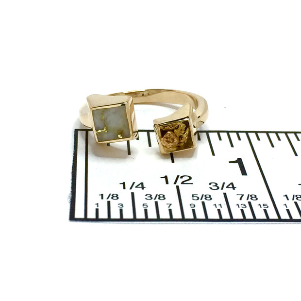 Gold Quartz Ring Natural Nuggets Inlaid Wrap Double Square Design