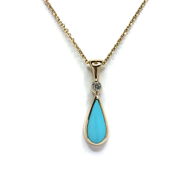 Turquoise Pendant Tear Drop Inlaid Design with .02ct Round Diamond