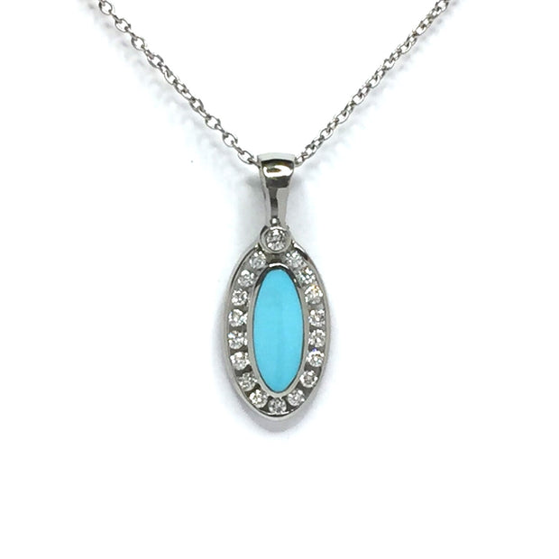 Turquoise Necklace Oval Inlaid with .22ctw Round Diamonds Halo