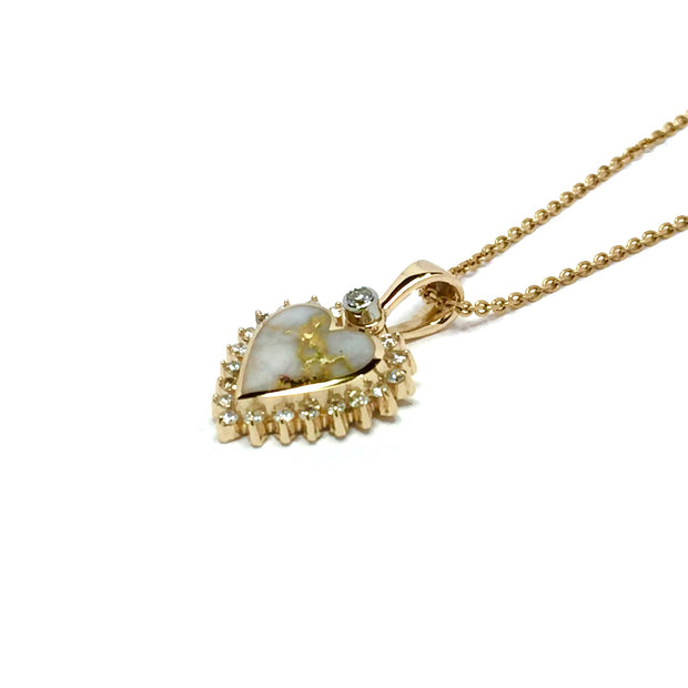 Gold Quartz Necklace Heart Inlaid .21ctw Diamond Halo Design Pendant