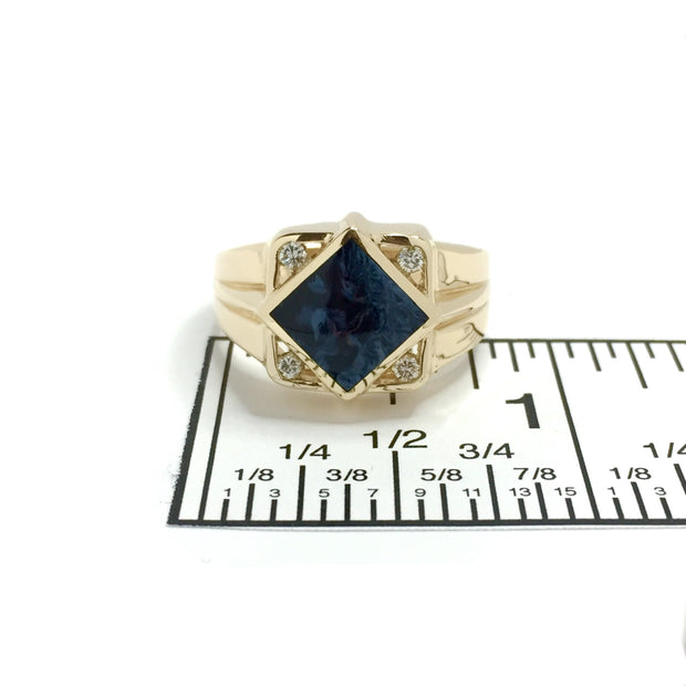 Natural Pietersite Ring Diamond Shape Inlaid .16Ctw Diamonds