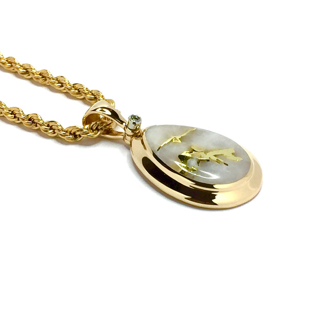 Gold quartz necklace pear shape inlaid pendant made of 14k yellow gold with .02ct diamond