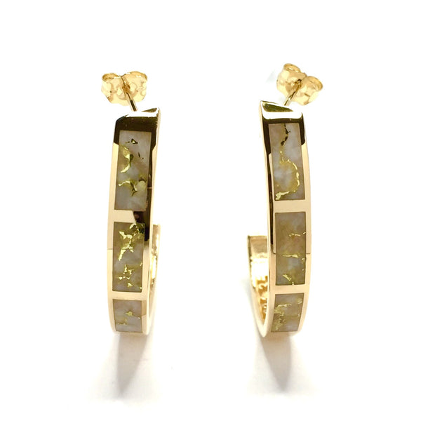 Gold Quartz Earrings 3 Section Hoop Inlaid Design