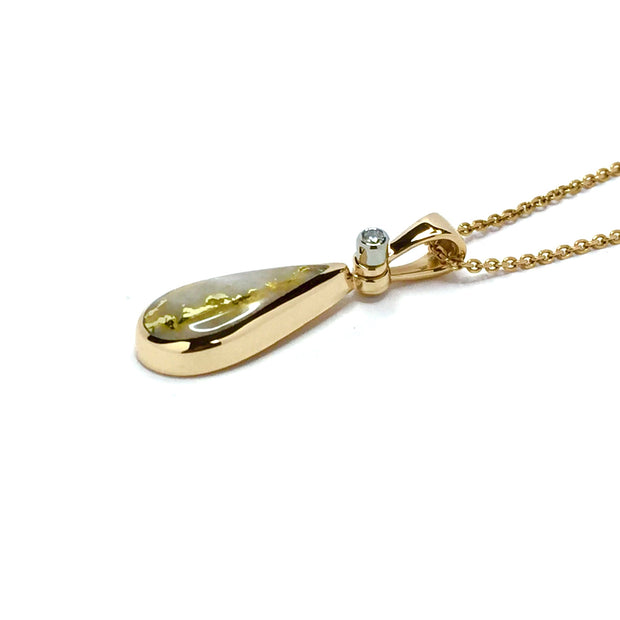 Gold quartz necklace tear drop inlaid pendant made of 14k yellow gold with a .02ct diamond