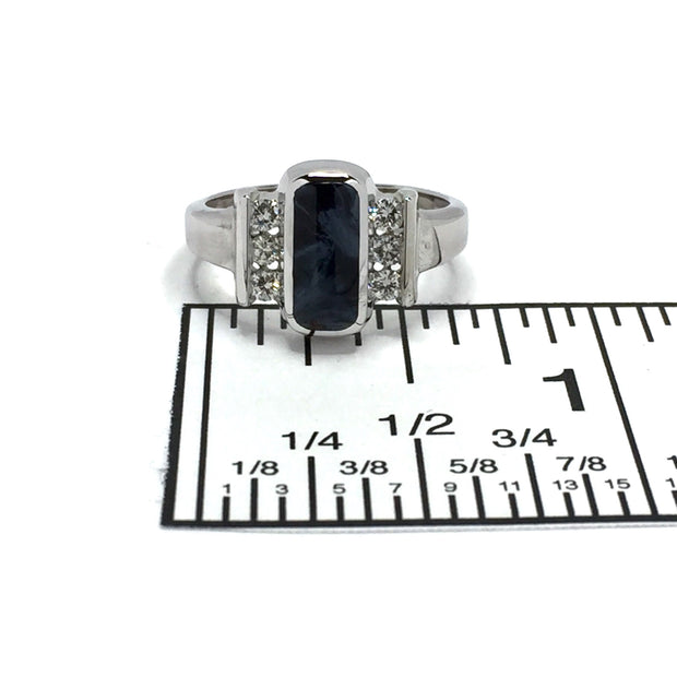 Pietersite Ring Oval Inlaid Design with .24ctw Diamonds