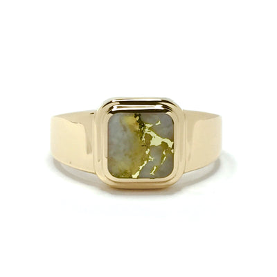 Gold Quartz Ring Square Inlaid Design 14k Yellow Gold