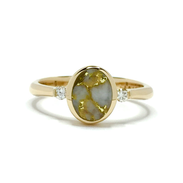 Gold Quartz Ring Oval Inlaid Design with Round Diamonds 14k Yellow gold