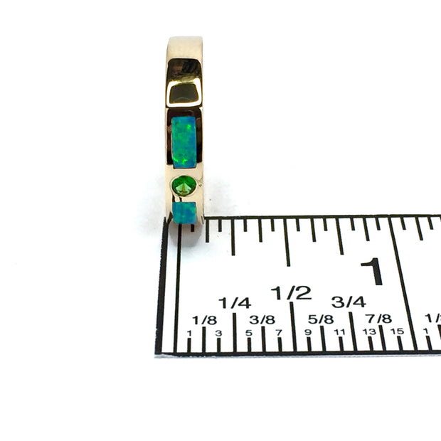 14k yellow gold natural Australian opal rings 2 section inlaid design with round tsavorite