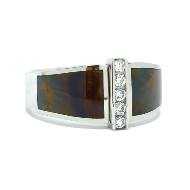 Natural Pietersite Inlaid ring with .19ctw round diamonds 14k white gold