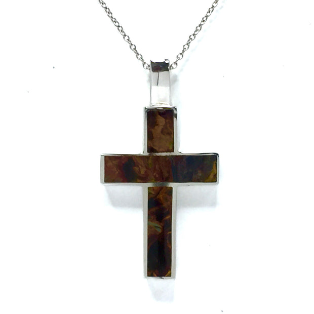 Natural Pietersite Pendant 3 Section Inlaid Design Cross 14k White Gold