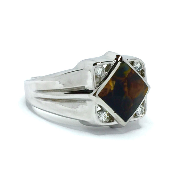 Natural Pietersite Ring Diamond Shape Inlaid Design with .16ctw Round Diamonds