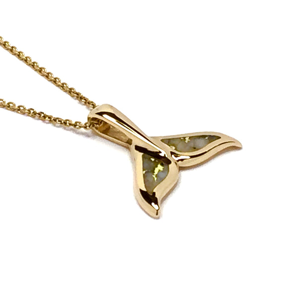 Whale tail necklaces gold in quartz double sided inlaid sea life pendant made of 14k yellow gold