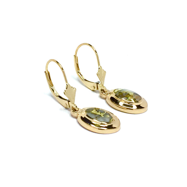 Gold Quartz Earrings Oval Inlaid Design Lever Backs 14k Yellow Gold