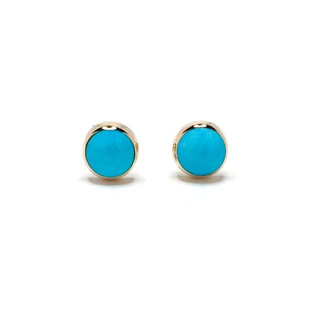 Round Turquoise Stud Earrings 14k Yellow Gold