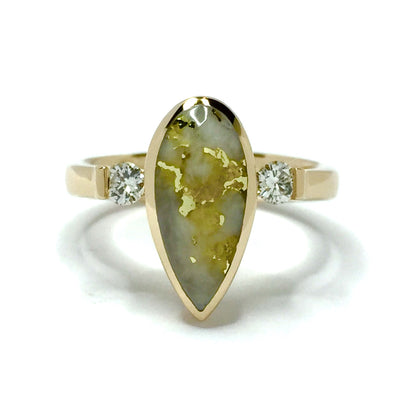 Gold Quartz Ring Pear Shape Inlaid .18ctw Round Diamonds 14k Yellow Gold