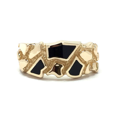Onyx Ring Nugget Design 3 Section Inlaid 14k Yellow Gold