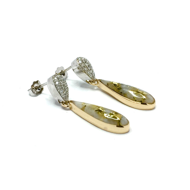 Gold Quartz Earrings Tear Drop Inlaid with .22ctw Pave Round Diamonds