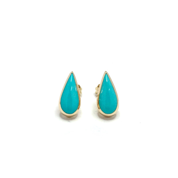Turquoise Earrings Tear Drop Inlaid Design 14k Yellow Gold
