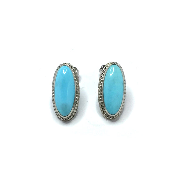 Turquoise Earrings Oval Cabochon Milgrain Design 14k White Gold