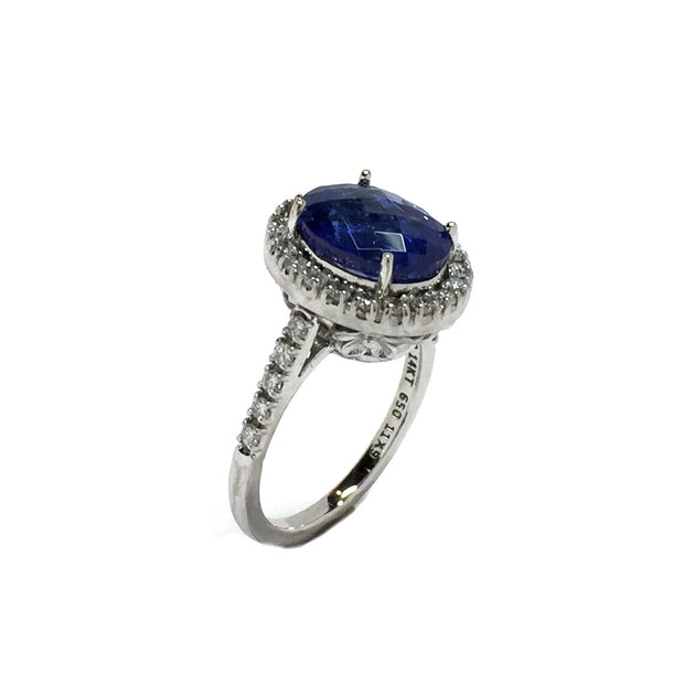Natural Tanzanite Oval Checkerboard Faceted Halo Diamond Ring 14k White Gold