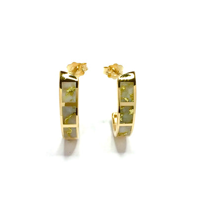 Gold Quartz Earrings 20mm Hoops 14k Yellow Gold
