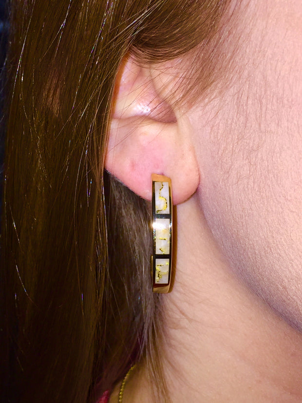 Gold Quartz Hoop Earrings 3 Section Inlaid Design