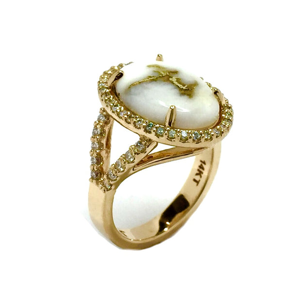 Gold Quartz Ring Oval Cabochon Round Diamonds Halo 14k Yellow Gold