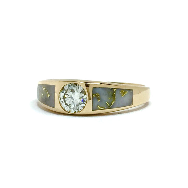 Gold Quartz Ring Double Sided Inlaid .52ct Round Diamond 14k Yellow Gold