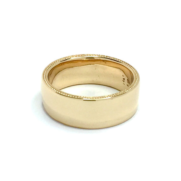 Gold Quartz Milgrain Mens Band Natural Nugget Sides Rectangle Inlaid Center 14k Yellow Gold