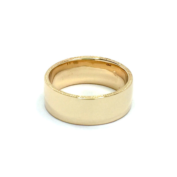 Gold Quartz Ring Rectangle Inlaid Natural Nuggets Sides Milgrain Band 14k Yellow Gold