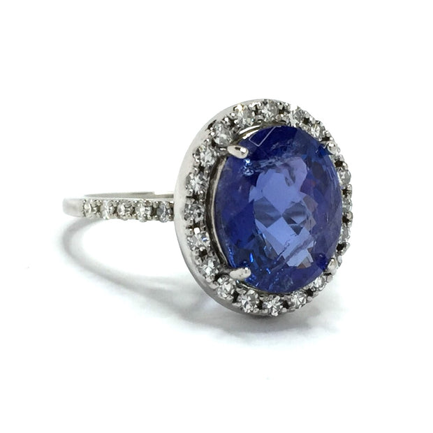 Fancy Checkerboard Faceted Tanzanite, Diamond Halo Ring