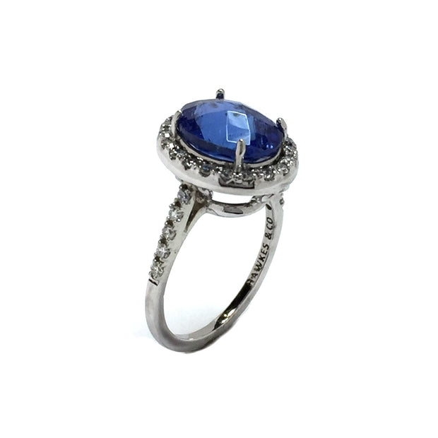 Tanzanite Ladies Ring Diamond Halo Ring