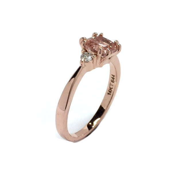 Cushion Cut Morganite and Diamond Three Stone Engagement Ring 14k Rose Gold
