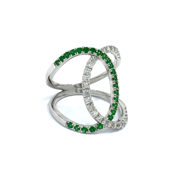 Tsavorite Garnet and Diamond Wide Open Bypass Ring 14k White Gold