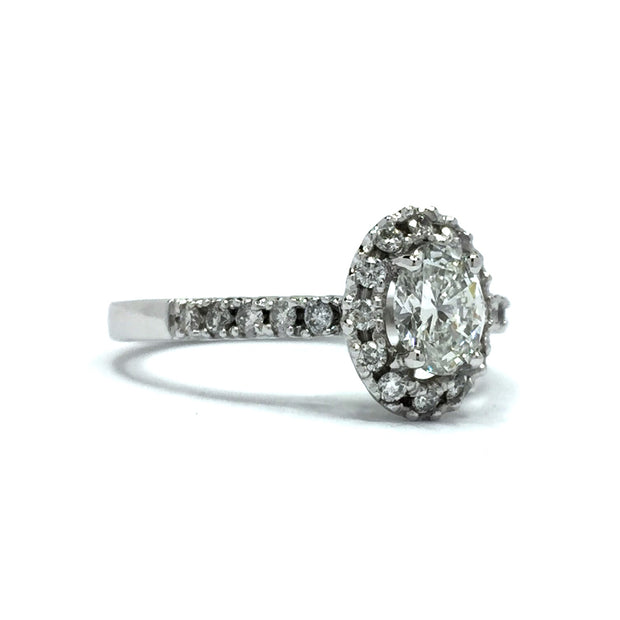 .73ctw Oval and Round Diamond Halo Engagement Ring