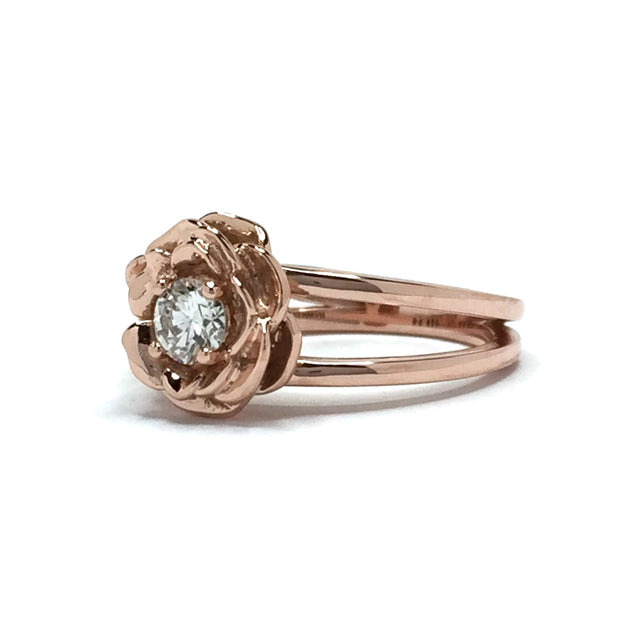14k rose gold floral diamond ring - round diamond - floral - ring - James Hawkes designs - Hawkes and co