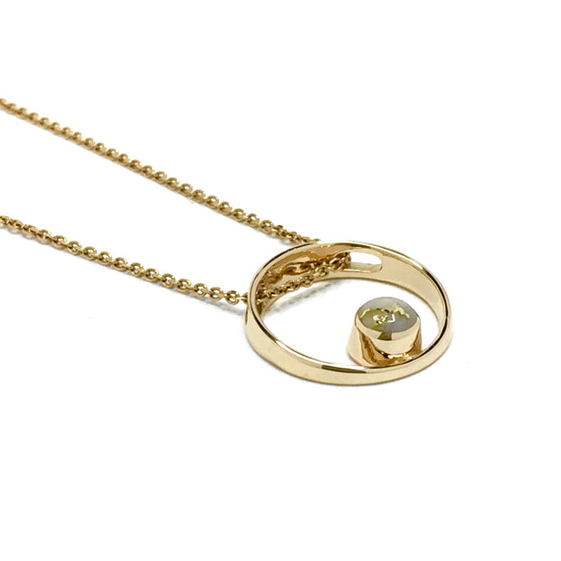 Gold Quartz Necklace Open Circle Design Round Inlay Pendant