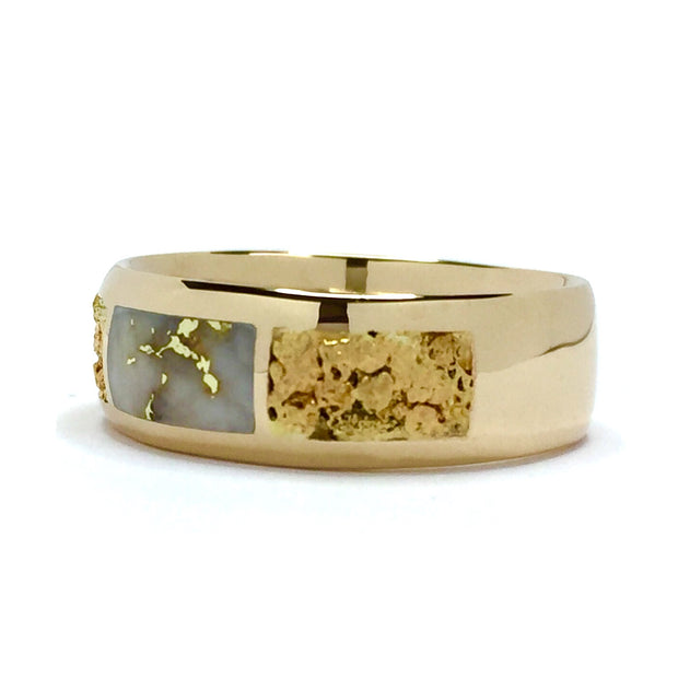 gold quartz ring rectangle and natural nugget inlaid  14k yellow gold