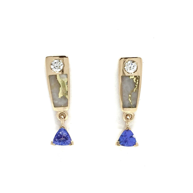 Gold quartz earrings rectangle inlaid design trillion tanzanite and .11ctw diamonds 14k yellow gold