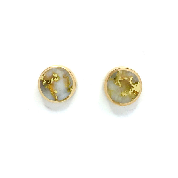 Gold Quartz Earrings 9mm Round Inlaid Studs 14k Yellow Gold