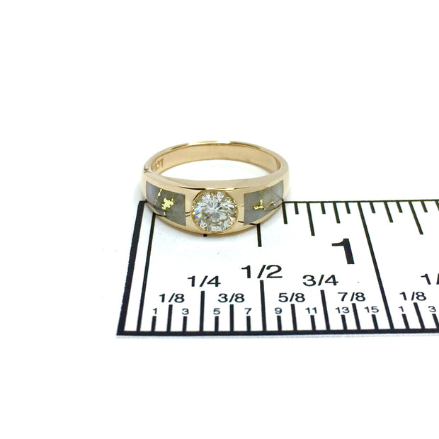 Gold Quartz Ring Double Sided Inlaid .51ct Round Diamond 14k Yellow Gold