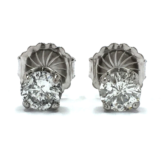 14k whit gold 1.87ctw round brilliant cut diamond stud earrings