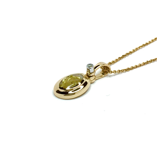 Gold Quartz Necklace Oval Inlaid Pendant made of 14k yellow gold with a .02ct diamond