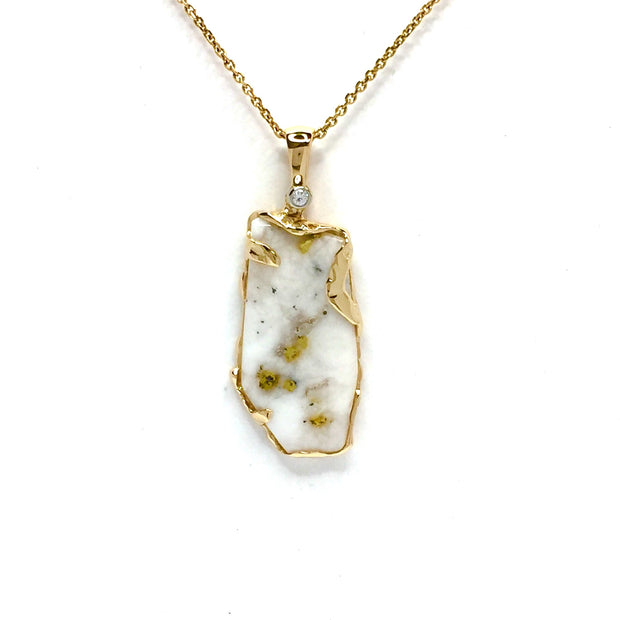 Gold in Quartz Freeform One of a Kind Pendant Necklace 14K Yellow Gold