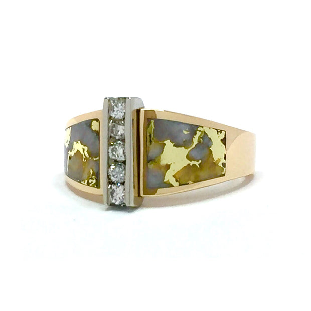 Gold Quartz Ring Double Sided Inlaid Design with .23ctw Diamonds 14k yellow gold