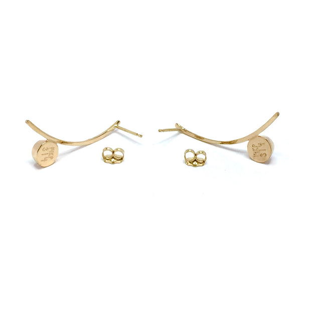 Gold Quartz Earrings Round Inlaid Curved Bar Design