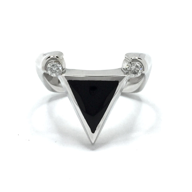 Onyx Ring Triangle Inlaid Design with .14ctw Round Diamonds 14K White Gold