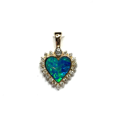 Opal pendant heart shape inlaid design .21ctw round diamonds halo 14k yellow gold